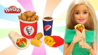 DIY How to make Play Doh Food. Miniature Fast Food for Barbie