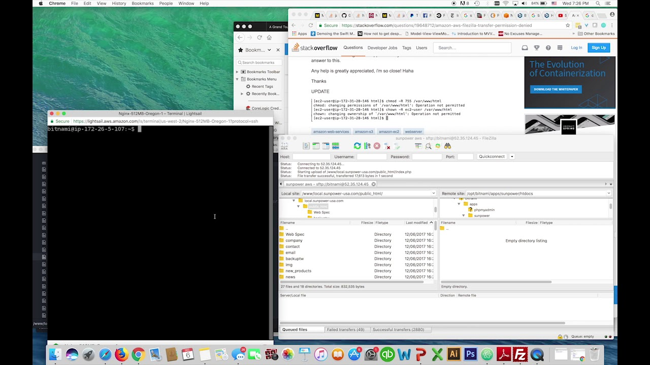 AWS Lightsail Filezilla SFTP Permission Denied Bitnami Nginx Stack