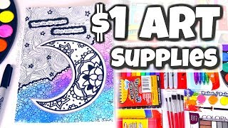 $1 ART SUPPLIES CHALLENGE  - Mixed Media Drawing & Painting | SoCraftastic