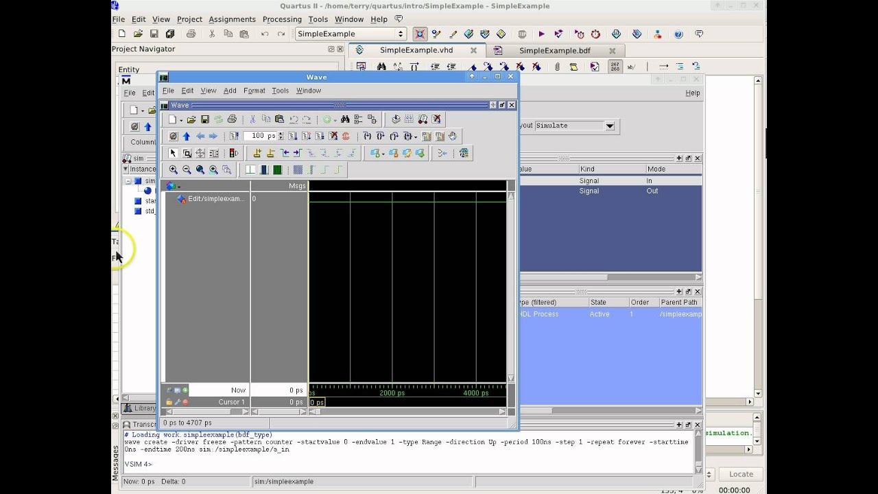 Quartus II Simulation using ModelSim with Waveforms