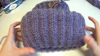 Вязание шапки из мохера с двойным отворотом узором польская резинка