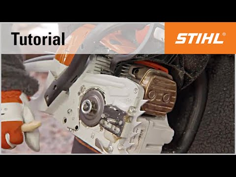 Removing and cleaning the chain sprocket cover, guide bar and saw chain of  a STIHL chainsaw