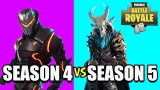 5 ª TEMPORADA TIER 100 SKIN VS. 4 ª TEMPORADA TIER 100 SKIN! RAGNAROK VS. Omega! (Battle Royale do Fortnite)