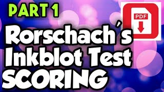 Rorschach's Inkblot test Scoring || manual PDF || In Hindi