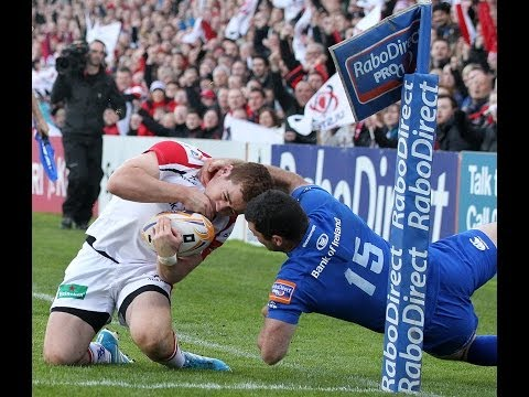 Paddy Jackson Try and Yellow card for Rob Kearney - Ulster v Leinster 2nd May 2014