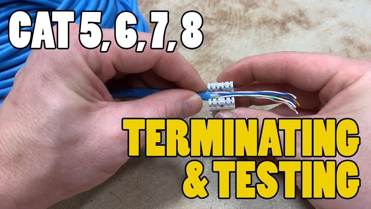 Terminating Testing Network Cables Cat 3 Cat5 Cat6 Cat 7 Cat 8 Youtube