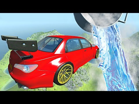 BeamNG.drive - Cars Jumping through Liquid Nitrogen (FREEZING Cars Experiment)