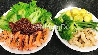Cùng ăn giảm cân Gà áp chảo & cá hồi hấp tiêu