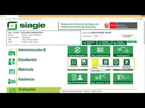 SIAGIE - Registro de evaluación 2020