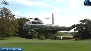 Live Satellite News - President Trump Departs White House Heading to Andrews AFB on Marine One