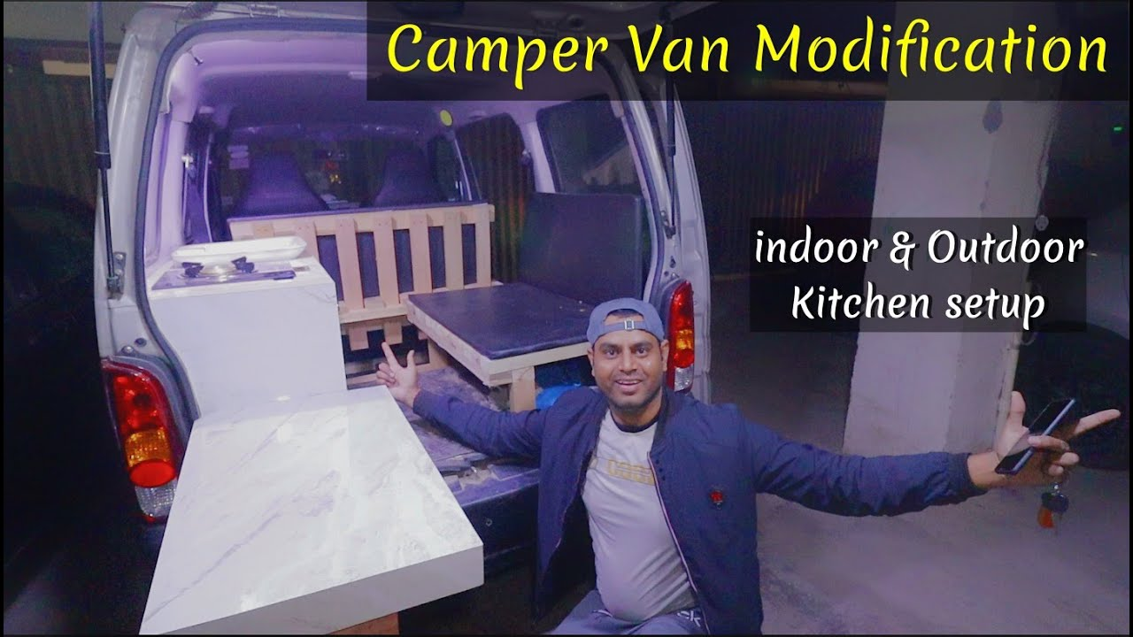 Indoor and Outdoor Kitchen Setup in Camper Van Modification | Camper Van in India