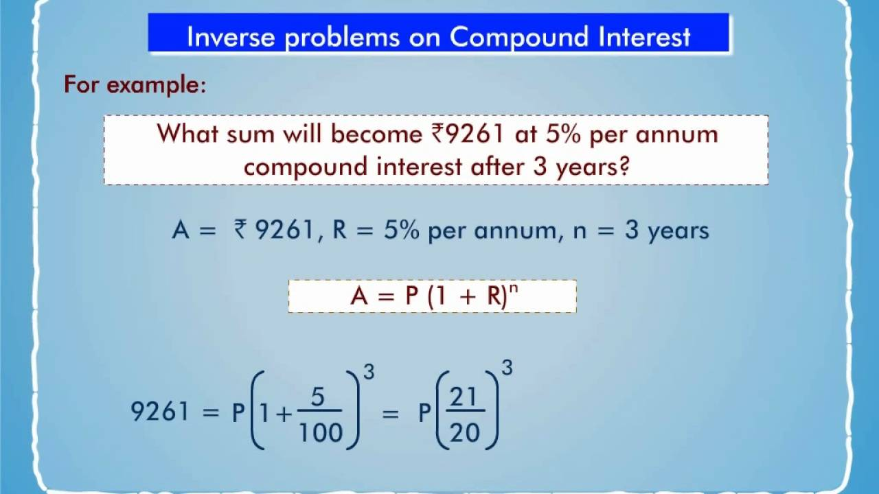 Worksheets Word Problems Of Compound Interest Viii inverse problems on compound interest youtube interest