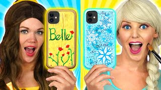WE CUSTOMIZE PHONE CASES WITH ELSA, BELLE AND MULAN PAINT AMAZING PHONE CASES. Totally TV Parody.