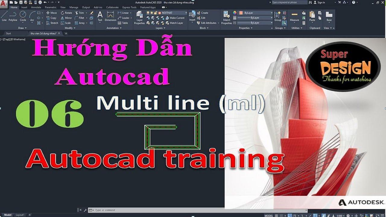 Super Design : Bài 6 – Lệnh multi line trong autocad – Command multi line in autocad