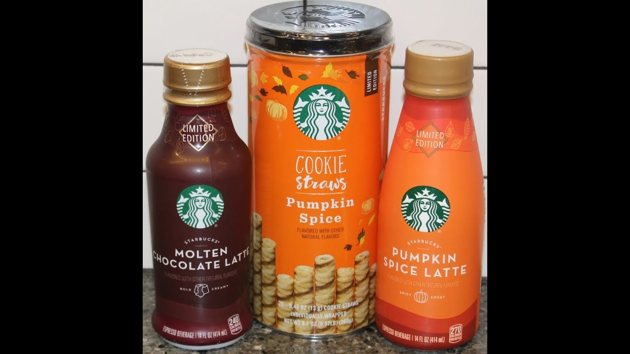 Starbucks Pumpkin Spice Latte Molten Chocolate Latte Pumpkin Spice Cookie Straws Review