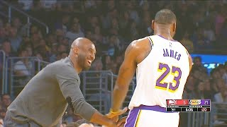 Kobe Bryant Gives LeBron James His 3 Point Shooting Powers During Greeting & Gets Standing Ovati