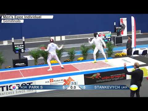 FE M E Individual Bern SUI WC 2017 Semifinal 01 podium PARK KOR vs STANKEVYCH UKR