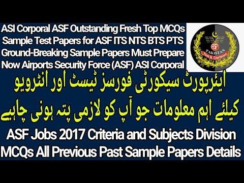 ASF Jobs Test Criteria l ASF Written Test Past Paper MCQs l
