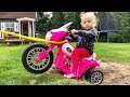 Little Girl Elis Ride On Harley Davidson Power Wheel - Stuck in The Mud with Thomas Help Assistance