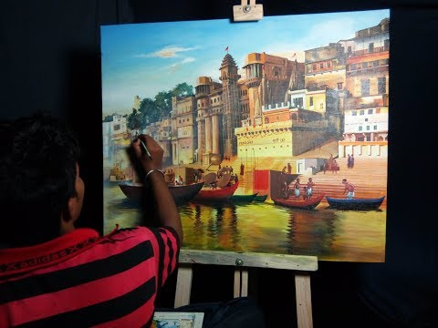 Large Canvas Painting | 'Ghats of Varanasi' in Acrylic | Speed Art Painting