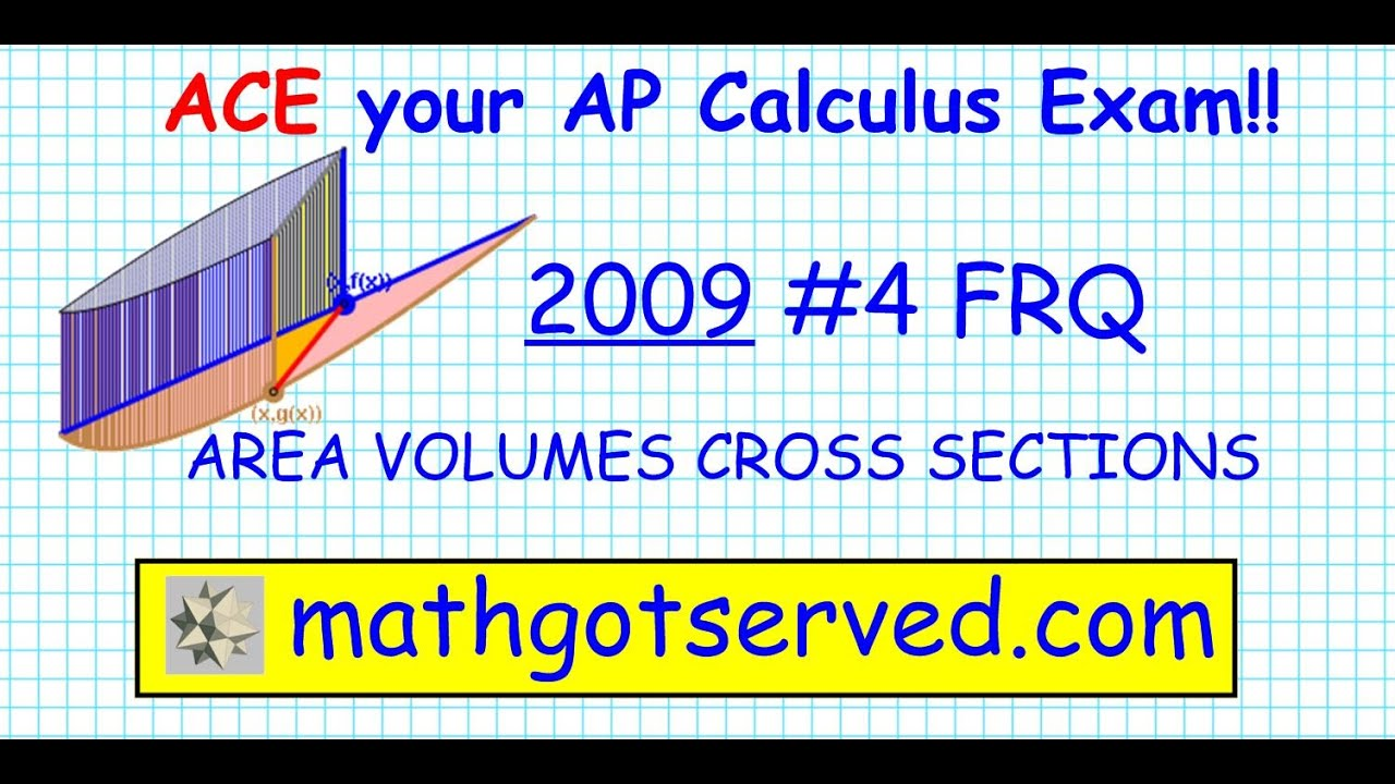 2009 AP Calculus AB FRQ #4 Volumes Area Revolution known ...
