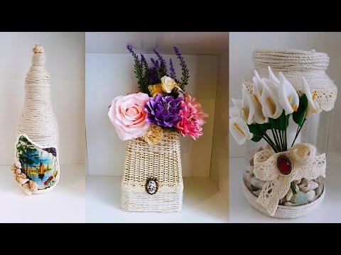 3 крутые идеи из ниток🔥Декор для дома из ниток🤗DIY😍Плетение из ниток/Плетенная ваза/Подсвечник