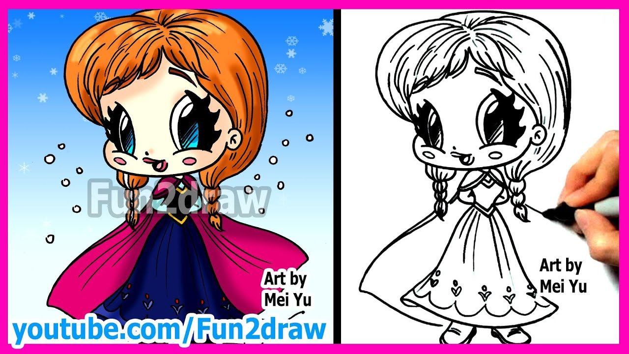 How To Draw Disney Princesses & Characters  Inspired By Frozen Anna   Fun2draw Cartoon  Youtube