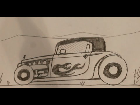 How to draw a hot rod car