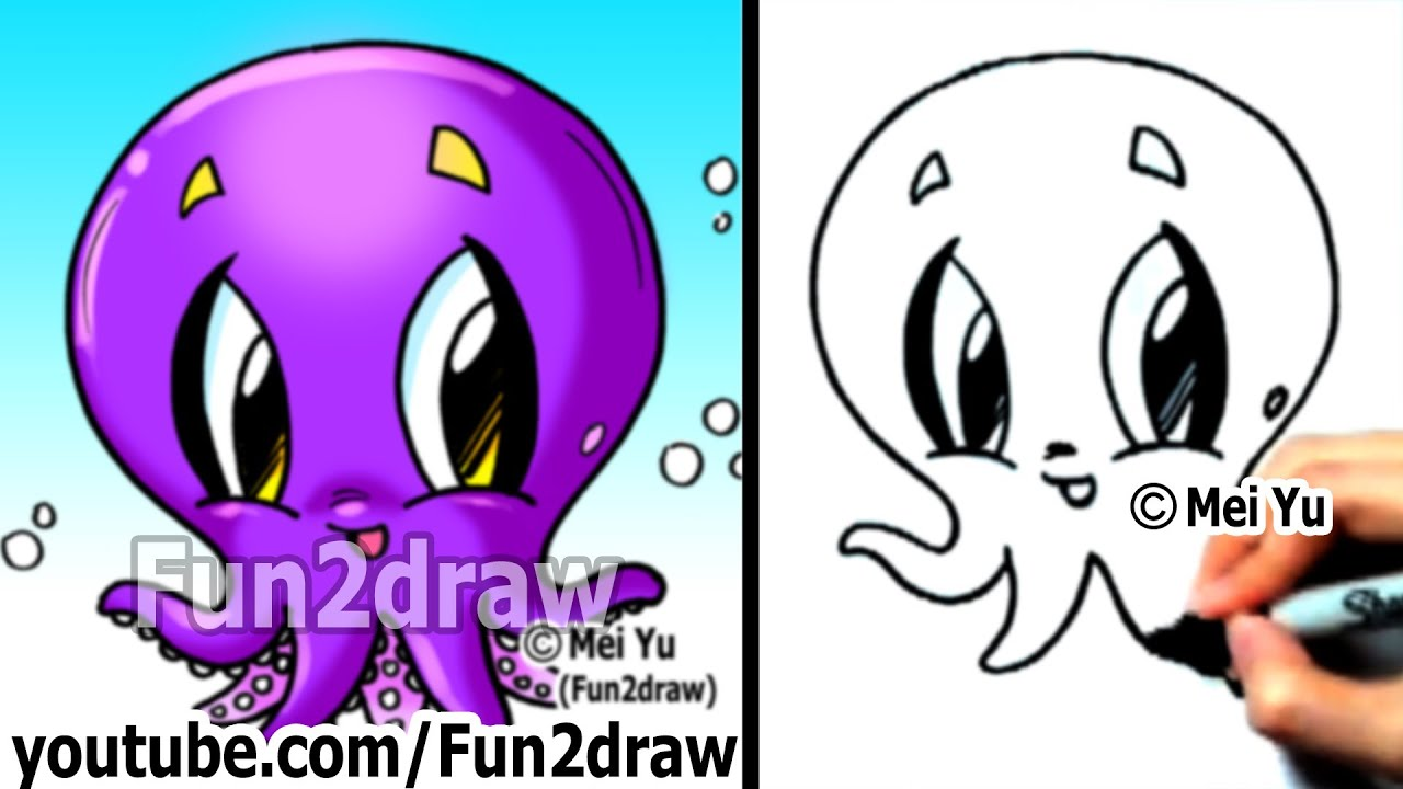 How to Draw Cartoon Characters How to Draw an Octopus Easy