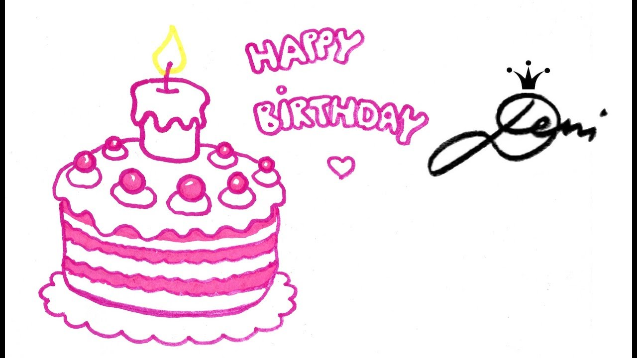 Geburtstagstorte Zeichnen Lernen Happy Birthday Drawing