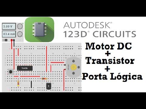 Tutorial 123D Circuits -Transistor NPN e Motor DC - Autodesk 123D
