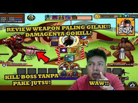 REVIEW WEAPON DAMAGENYA PALING GILAKK! GUE KILL BOSS TANPA PAKE JUTSU! BISA MENANG??!! - Ninja Saga