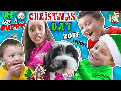 CHRISTMAS DAY TEARS of JOY!  NEW PUPPY! FUNnel Fam Holiday Vlog