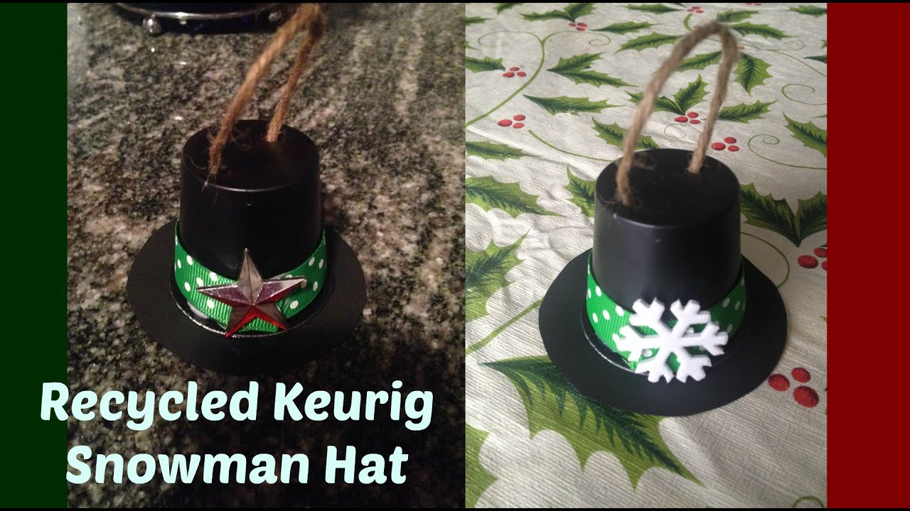 d9231e74abb Recycled Keurig Pod Snowman Hat - YouTube