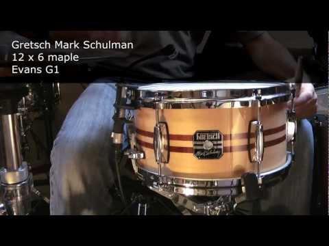 9 snare drums: Tama, Pearl, Gretsch, DW, Ludwig, Pork Pie, Mapex