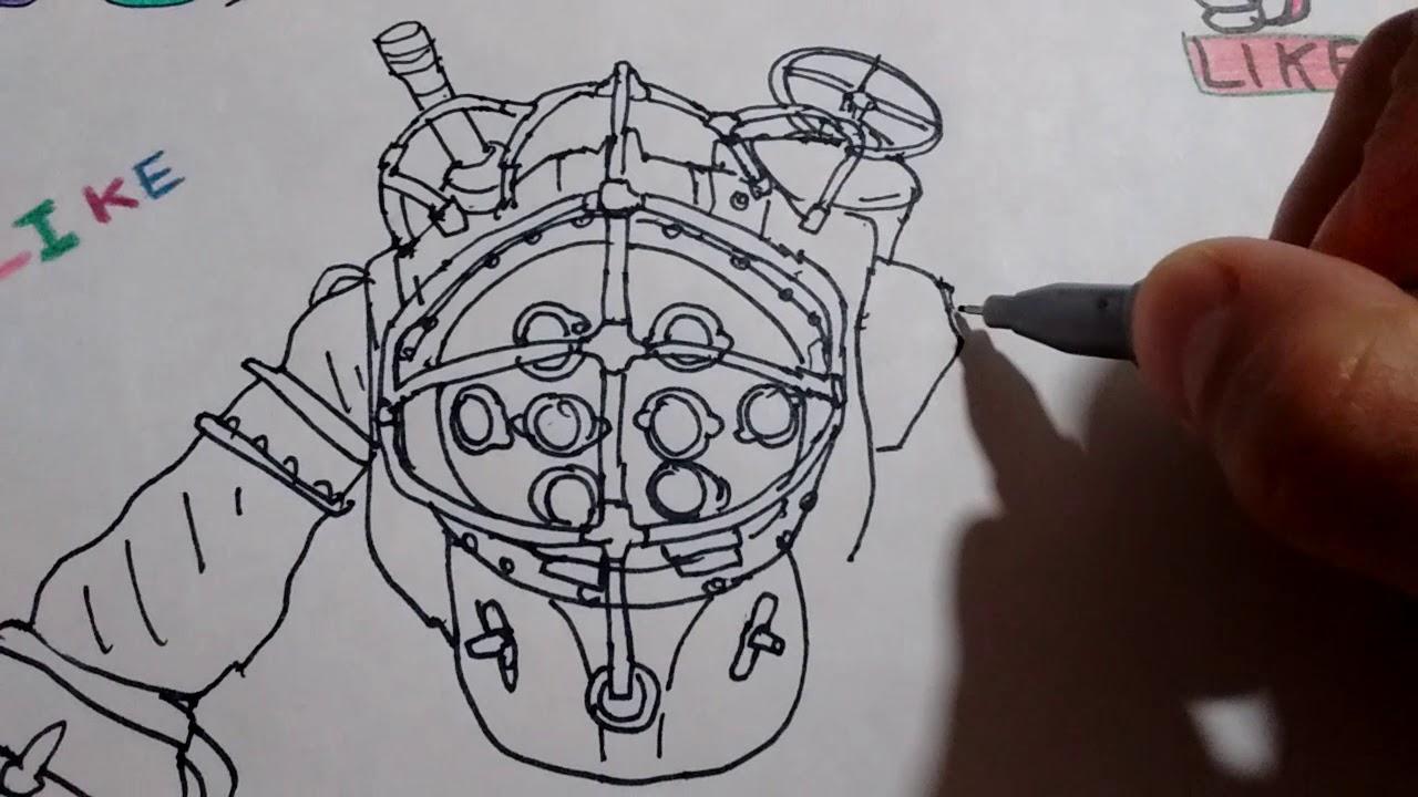 Cómo Dibujar A Big Daddy De Bioshock 2 Parte How To Draw Big Daddy From Bioshock Part 2 Youtube