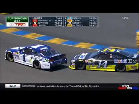 Tony Stewart Flipping Off Jamie McMurray On Track