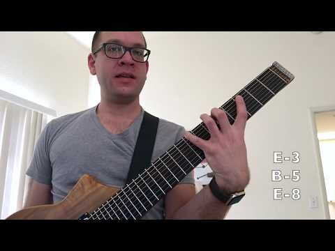 8-string guitar lesson 1: bass string triads (drop e tuning)
