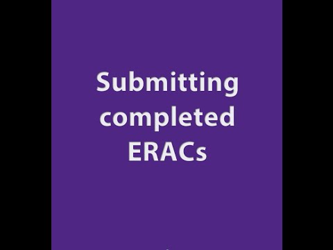 Video Guide on how to submit completed ERACs through QuartzWeb