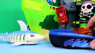 Disney Pixar Cars Lightning McQueen Takes Sally on Boat Ride Imaginext Batman Saves From Pirates