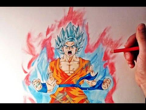 Cómo dibujar a Goku SSJ Dios Kaioken x10   How to draw Goku SSj God Kaioken x10