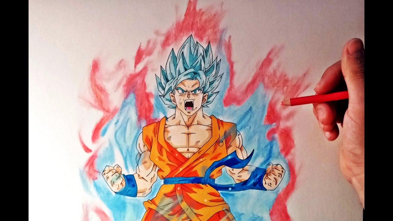 Goku Super Sayayin Dios Azul Para Colorear: Cómo Dibujar A Goku SSJ Dios Kaioken X10