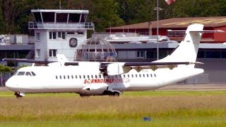 ATR72 Turboprop Landing * Wrong Taxiway & Reverse Back