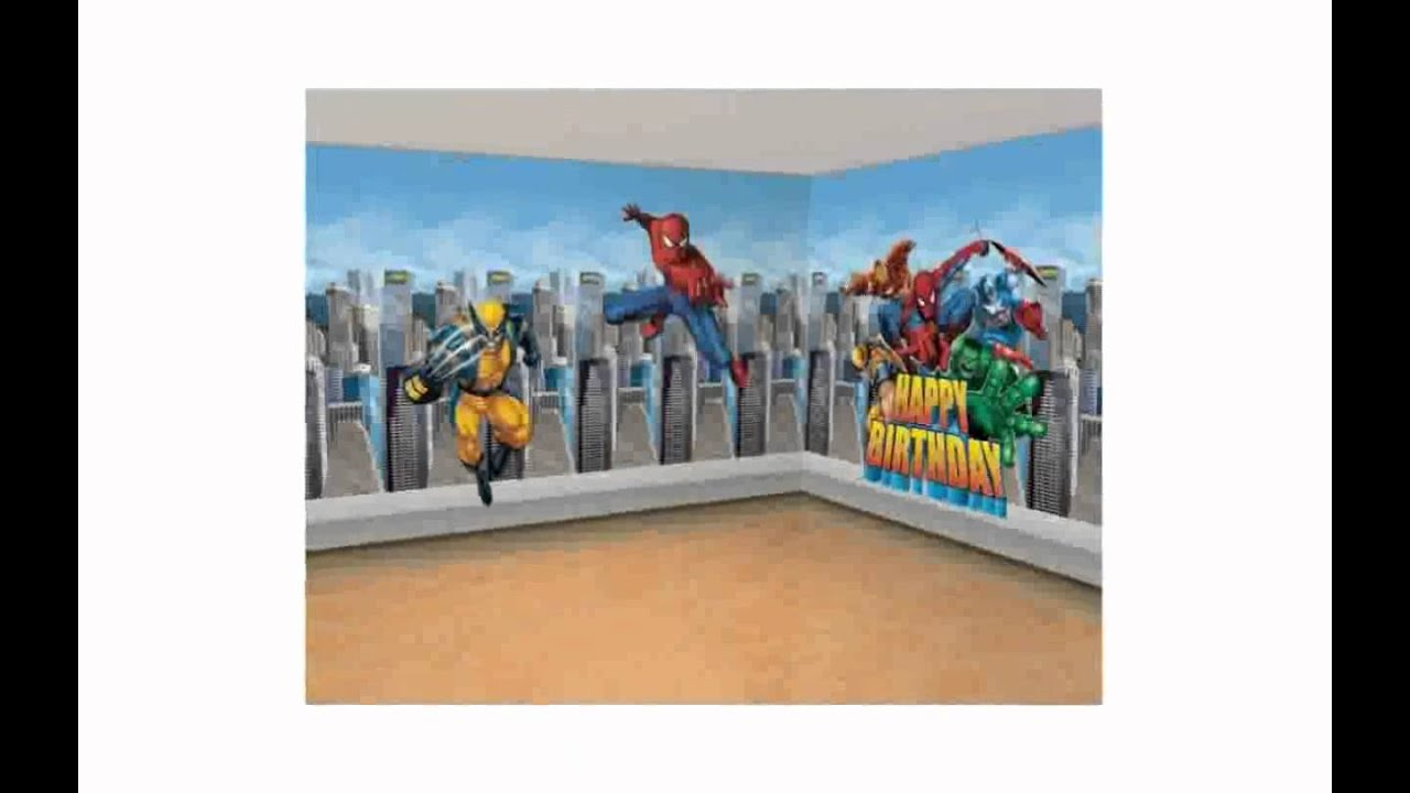 super hero wall decals lilolarada youtube. Black Bedroom Furniture Sets. Home Design Ideas