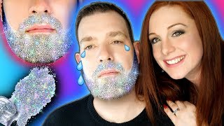 HOLO GLITTER BEARD -ING MY HUBBY USING NAIL PRODUCTS DIY! How to apply glitter to a beard- Christmas
