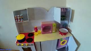 детская кухня из картонных коробок своими руками. Children's kitchen