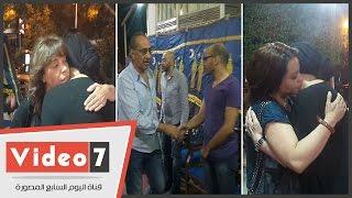 أميرة العايدى وهندية وعايدة غنيم فى عزاء والدة عفاف رشاد