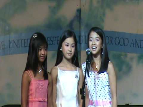Nikki, Shanelle,  and Maaikee singing Lupang Hinirang