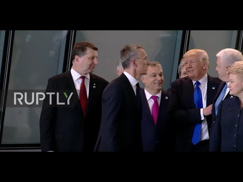 Belgium: America First! Trump pushes Montenegrin PM aside as NATO group gather