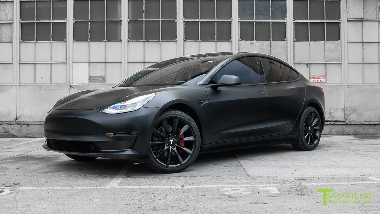 Tesla Model 3 Customized with All Satin Black Look